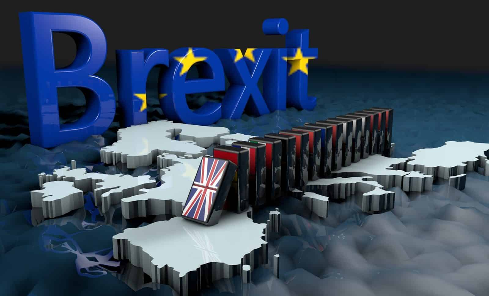 Brexit sign and Union Jack dominoes set to fall