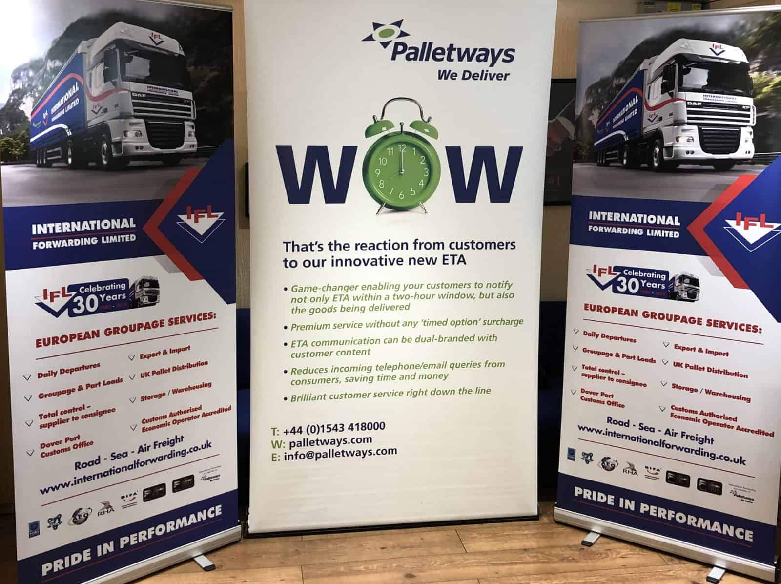 IFL and Palletways banners at the MBN Expo