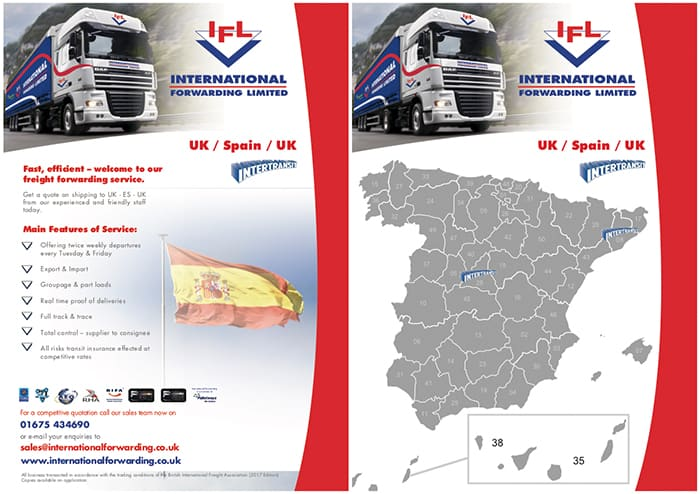 Pallet delivery to Spain flyer